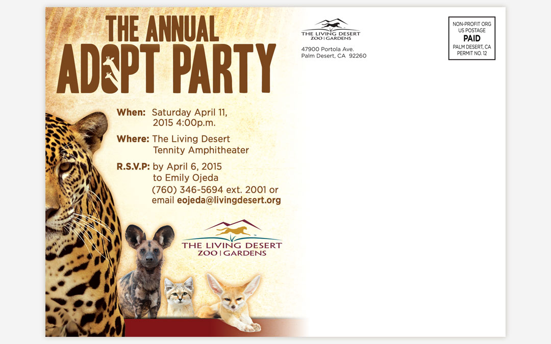 grafx design digital agency tampa bay florida the living desert annual adopt party invitation