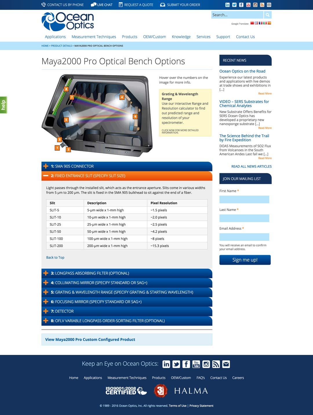 Grafx Design & Digital Agency, Tampa Bay, Florida » Ocean Optics Website