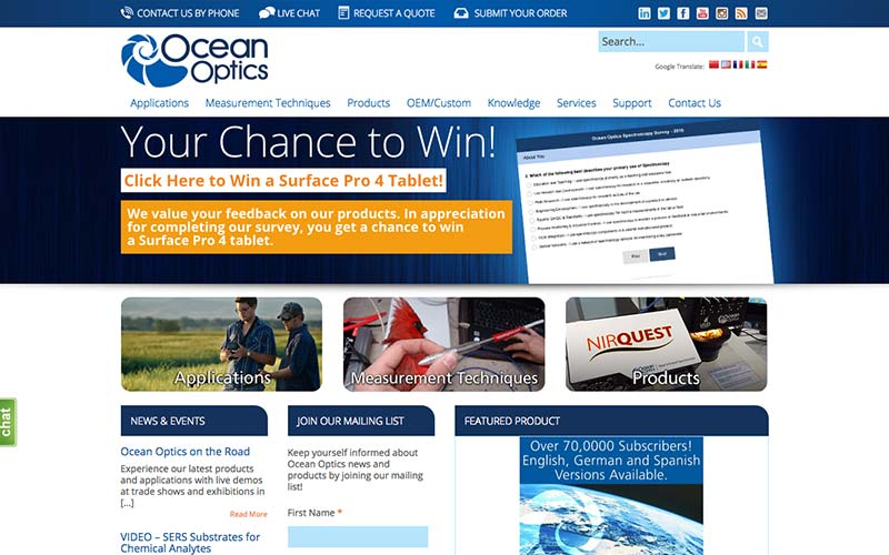 Ocean Optics Website